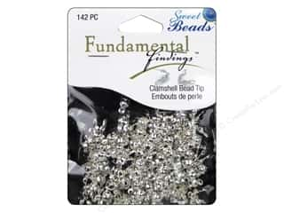 beading & jewelry making supplies: Sweet Beads Fundamental Finding Clamshell Bead Tip 142 pc. Silver