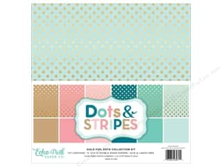 scrapbooking & paper crafts: Echo Park 12 x 12 in. Collection Kit Dots & Stripes Gold Foil