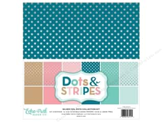 scrapbooking & paper crafts: Echo Park 12 x 12 in. Collection Kit Dots & Stripes Silver Foil