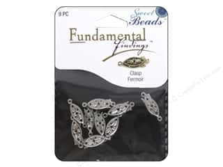 beading & jewelry making supplies: Sweet Beads Fundamental Finding Fishhook Clasp Antique Silver 9pc