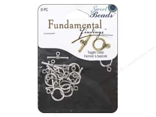 beading & jewelry making supplies: Sweet Beads Fundamental Finding Toggle Clasp 7/16 in. Antique Silver 9 pc.
