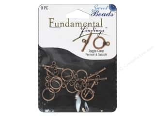 beading & jewelry making supplies: Sweet Beads Fundamental Finding Toggle Clasp 7/16 in. Antique Copper 9 pc.
