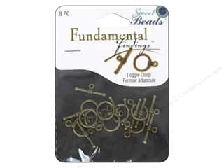 beading & jewelry making supplies: Sweet Beads Fundamental Finding Toggle Clasp 7/16 in. Antique Brass 9 pc.