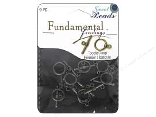 beading & jewelry making supplies: Sweet Beads Fundamental Finding Toggle Clasp 7/16 in. Pewter 9 pc.