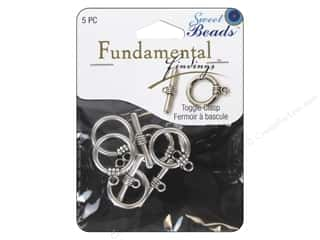 beading & jewelry making supplies: Sweet Beads Fundamental Finding Toggle Clasp 5/8 in. Antique Silver 5 pc.
