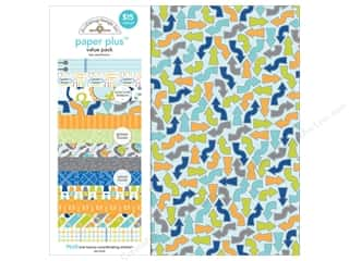 Clearance Paper Accents Bottle Caps: Doodlebug 12 x 12 in. Paper Plus Value Pack Boy (3 sets)