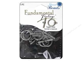 beading & jewelry making supplies: Sweet Beads Fundamental Finding Toggle Clasp 5/8 in. Pewter 5 pc.