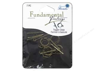 beading & jewelry making supplies: Sweet Beads Fundamental Finding Toggle Clasp 9/16 in. Antique Brass 7 pc.