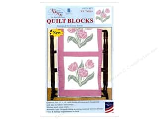 "Jack Dempsey Quilt Block 18"" 6pc White XX Tulips White"