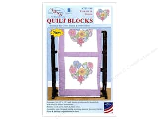 "Jack Dempsey Quilt Block 18"" 6pc White Flowers & Hearts White"