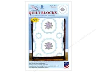 "Jack Dempsey Quilt Block 18"" 6pc White Pansies White"