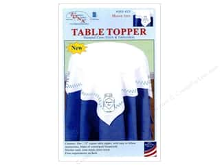 "yarn & needlework: Jack Dempsey Table Topper White 35"" Mason Jars"