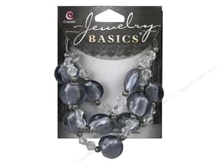 beading & jewelry making supplies: Cousin Basics Glass and Metal Beads 15 mm Bicone Round Smoke Clear