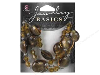 Cousin Basics Glass and Metal Beads 15 mm Bicone Round Dark Topaz