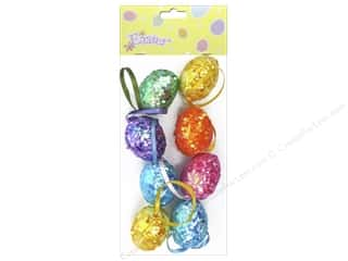 "Ornament: Darice Sequin Egg Ornament 1.5"" Assorted Colors 8pc"