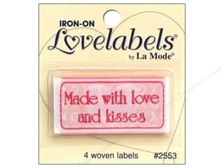 sewing & quilting: Blumenthal Iron-On Lovelabels 4 pc. Made with Love & Kisses