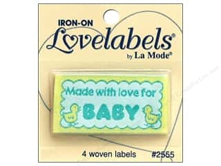 sewing & quilting: Blumenthal Iron-On Lovelabels 4 pc. Made with Love for Baby