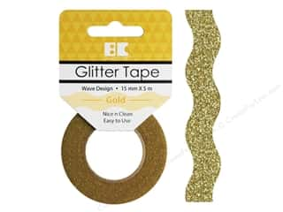 glues, adhesives & tapes: Best Creation Glitter Tape 5/8 in. x 5 1/2 yd. Wave Gold
