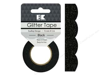glues, adhesives & tapes: Best Creation Glitter Tape 5/8 in. x 5 1/2 yd. Scallop Black
