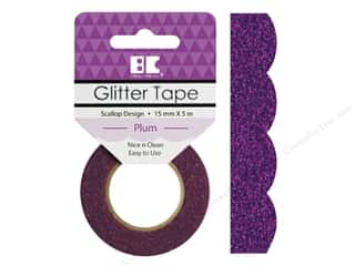 scrapbooking & paper crafts: Best Creation Glitter Tape 5/8 in. x 5 1/2 yd. Scallop Plum