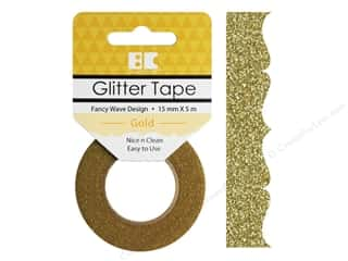 glues, adhesives & tapes: Best Creation Glitter Tape 5/8 in. x 5 1/2 yd. Fancy Wave Gold