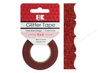 Best Creation Glitter Tape 5/8 in. x 5 1/2 yd. Fancy Wave Red