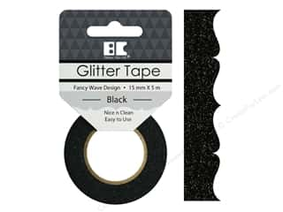 glues, adhesives & tapes: Best Creation Glitter Tape 5/8 in. x 5 1/2 yd. Fancy Wave Black