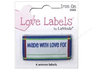 sewing & quilting: Blumenthal Iron-On Lovelabels 4 pc. Made With Love For Blue