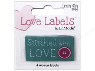 sewing & quilting: Blumenthal Iron-On Lovelabels 4 pc. Stitched With Love