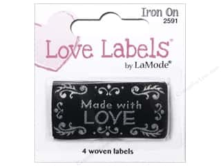 sewing & quilting: Blumenthal Iron-On Lovelabels 4 pc. Made With Love Black
