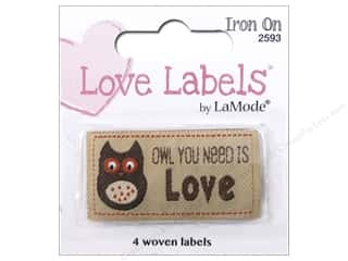 sewing & quilting: Blumenthal Iron-On Lovelabels 4 pc. Owl You Need Is Love