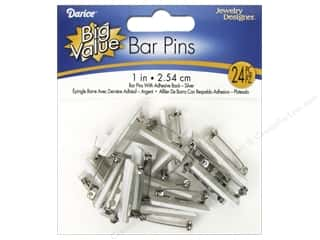craft & hobbies: Darice Jewelry Designer Bar Pins with Adhesive Backs 1 in. Nickel 24 pc.
