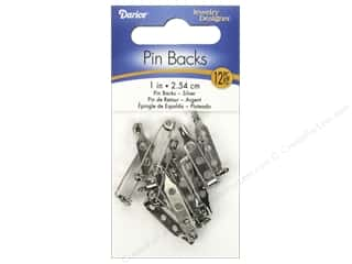 beading & jewelry making supplies: Darice Jewelry Designer Pin Backs 1 in. Nickel 10 pc.