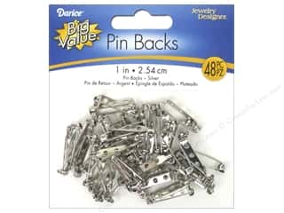 beading & jewelry making supplies: Darice Jewelry Designer Pin Backs 1 in. Nickel 48 pc.