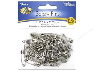 beading & jewelry making supplies: Darice Jewelry Designer Safety Pins 1 1/8 in. Silver 125 pc.