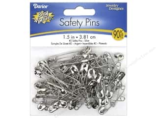 Darice Jewelry Designer Safety Pins 1 1/2 in. Silver 90 pc.