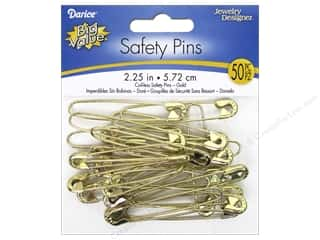 beading & jewelry making supplies: Darice Jewelry Designer Coilless Safety Pins 2 1/4 in. Gold 50 pc.