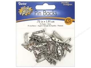 beading & jewelry making supplies: Darice Jewelry Designer Pin Backs 3/4 in. Nickel 42 pc.