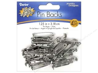 beading & jewelry making supplies: Darice Jewelry Designer Pin Backs 1 1/4 in. Nickel 40 pc.