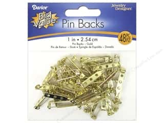beading & jewelry making supplies: Darice Jewelry Designer Pin Backs 1 in. Brass 48 pc.