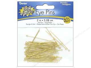 Eye Pins: Darice Jewelry Designer Eye Pins 2 in. Gold Plated Brass 60 pc.
