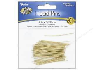 Darice Jewelry Designer Head Pins 2 in. Gold Plated Brass 60 pc.