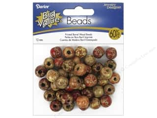 Darice Wood Beads 12 mm Barrel 60 pc. Printed