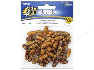 wood beads: Darice Wood Beads 8 x 17 mm Oval 60 pc. Printed