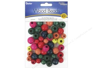 beading & jewelry making supplies: Darice Large Round Wood Beads 45 pc. Assorted Colors