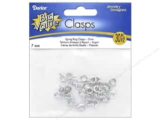 beading & jewelry making supplies: Darice Jewelry Designer Spring Rings 7 mm Bright Silver Plated 36 pc.