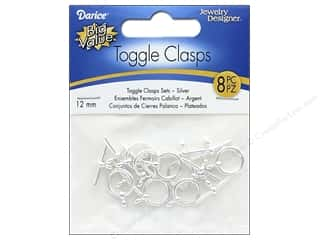 Darice Jewelry Designer Toggle Clasps 12 mm Silver 8 pc.