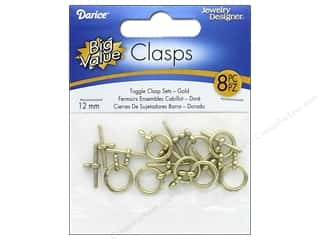 beading & jewelry making supplies: Darice Jewelry Designer Toggle Clasps 12 mm Gold 8 pc.