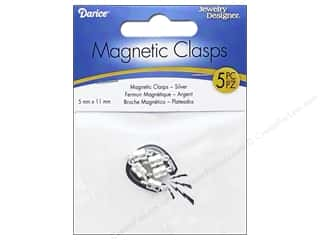 beading & jewelry making supplies: Darice Jewelry Designer Magnetic Clasps 5 x 11 mm Silver 5 pc.
