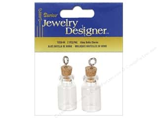 Darice Jewelry Designer Glass Bottle Charm with Cork Stopper 2 pc.